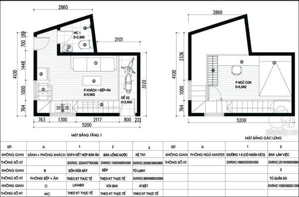 Mặt bằng tư vấn thiết kế nhà với tầng 1 và gác lửng.