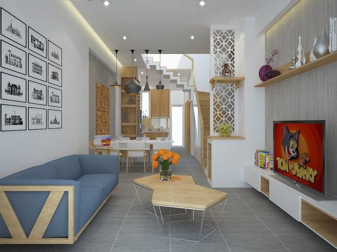 Tầng 1 không gian liên thông, trong mẫu thiết kế nhà ống 3 tầng, mỗi tầng 1 WC với diện tích đất không lớn. Như vậy, gia đình sẽ giảm được kinh phí đầu tư mà các phòng lại rộng rãi.