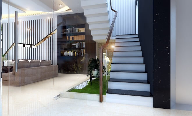 Khu vực cầu thang bố trí tiểu cảnh xanh mát, trong thiết kế nhà 5 tầng này.