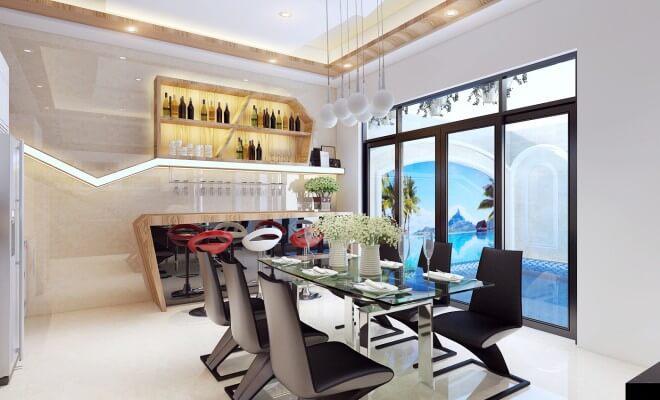 Trong mẫu thiết kế nhà 5 tầng này, phòng ăn và nhà bếp nhìn ra hồ bơi tạo cảm giác thoải thoáng rộng, thư giãn.