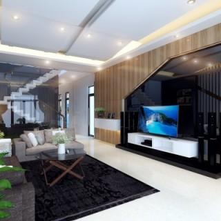Phòng khách trong mẫu thiết kế nhà ống 5 tầng, phong cách hiện đại với tông màu trung tính hòa nhã, nâu gỗ nhạt, đen và trắng