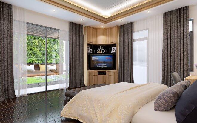 Phòng ngủ master với tông nâu gỗ nhạt và màu trắng mang lại vẻ hài hòa, thư thái, trông thiết kế nhà 5 tầng này.