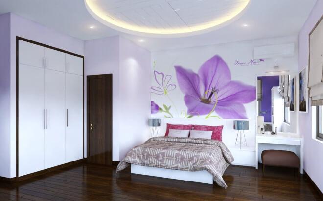 Thiết kế nhà 5 tầng với phòng ngủ con với tông màu trắng - tím nhẹ nhàng, nữ tính.