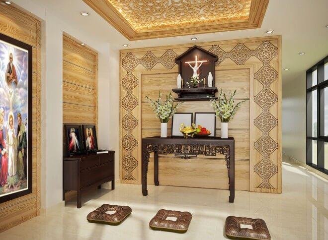 Phòng thờ sử dụng chất liệu gỗ mang đến vẻ trang nghiêm trong mẫu thiết kế nhà 5 tầng.