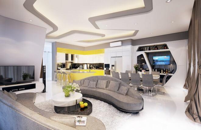 Phòng tiếp khách gia đình với nhiều chi tiết lượn cong. Chỉ trần và đồ nội thất đồng bộ. Tông màu xám và trắng kết hợp nhã nhặn, sang trọng trong mẫu thiết kế nhà phố này.