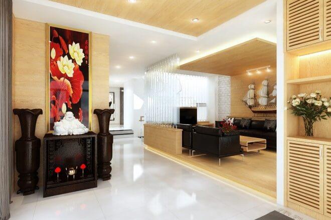 Thiết kế nhà phố, với phòng khách công ty tại nhà với tông màu gỗ ấm áp tạo không khí chào đón, kết hợp với những mảng xanh, hài hòa.