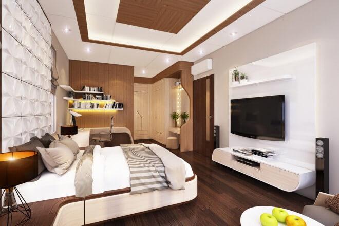 Thiết kế nhà phố 4 tầng với phòng ngủ của Bố Mẹ và con được thiết kế theo phong cách hiện đại. Nội thất đơn giản, vật dụng trang trí tiếp nối và xuyên suốt tạo cảm giác vững chãi.