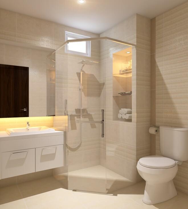 Phòng tắm trong mẫu thiết kế nhà phố này, đơn giản với tông màu kem nhạt, sang trọng.