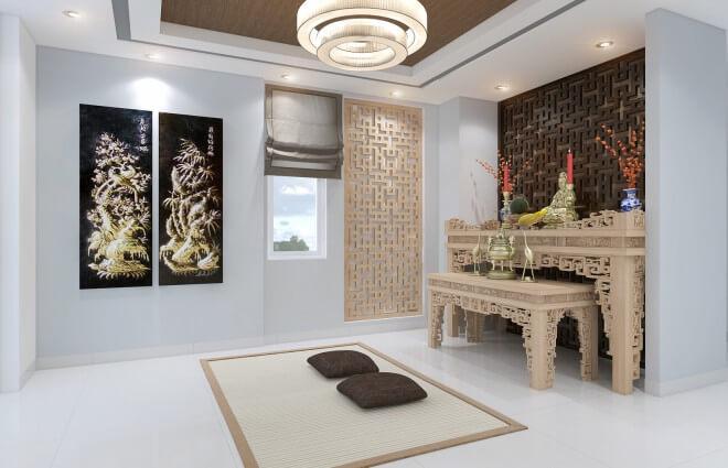 Phòng thờ giản dị với tông gỗ nâu và vàng nhạt, trang nghiêm trong mẫu thiết kế nhà phố này.
