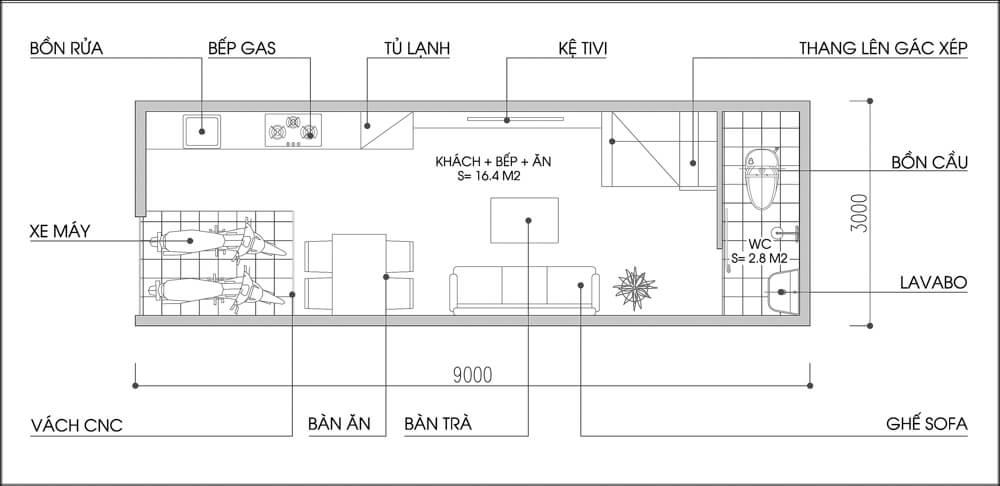 Bản vẽ mặt bằng tư vấn thiết kế nội thất tầng 1.