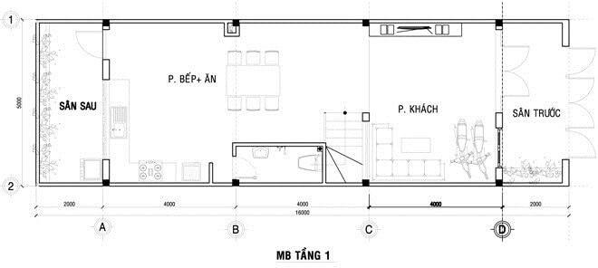 Mặt bằng thiết kế nhà phố 3 tầng.
