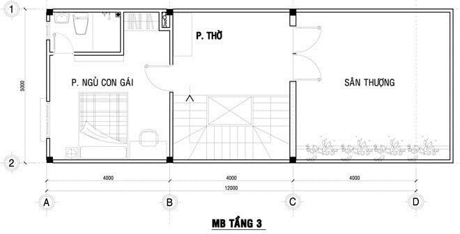 Mặt bằng thiết kế nhà phố 3 tầng, từ tầng 1 đến tầng 3.