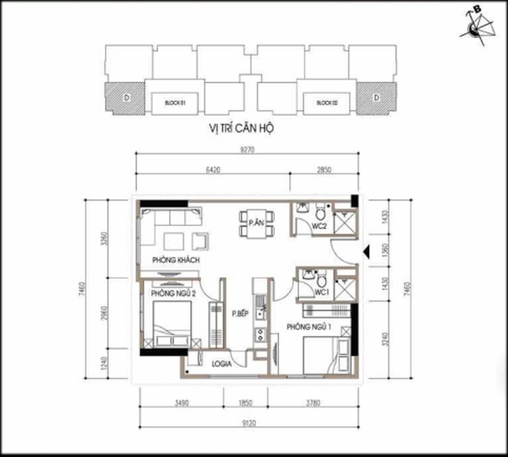 Mặt bằng thiết kế nội thất nhà chung cư.