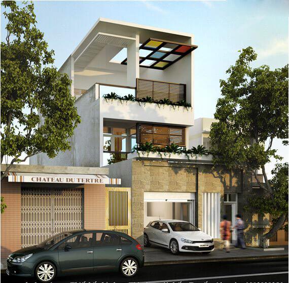Với mẫu nhà này, có thiết kế mới lạ của ban công và tầng tum là sự mới mẻ và độc đáo mà màu sắc sơn mang lại.