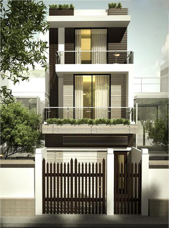 Sự tinh tế và hài hòa nằm ở trong cách thiết kế kiến trúc và cách phối màu phù hợp cho mẫu nhà sơn đẹp này.