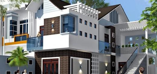 Nhà đẹp sơn màu trắng kết hợp với màu xám vừa tạo nên vẻ đẹp hài hòa. Sự phối hợp màu sắc như vậy cũng tạo nét sang trọng và thanh lịch cho biệt thự hiện đại.