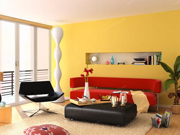 Phòng khách sơn màu vàng chanh, phòng khách nhà bạn trở nên bừng sáng hơn bao giờ hết.