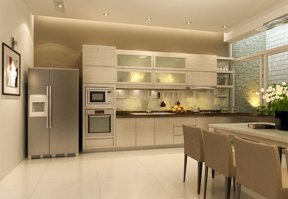 Không gian bếp, bàn ăn liên thông, rộng thoáng, tông màu trung tính, ấm cúng và sang trọng.