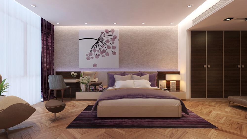 Sửa nhà phố với phòng ngủ bố mẹ sử dụng đồ nội thất hiện đại, sang trọng.