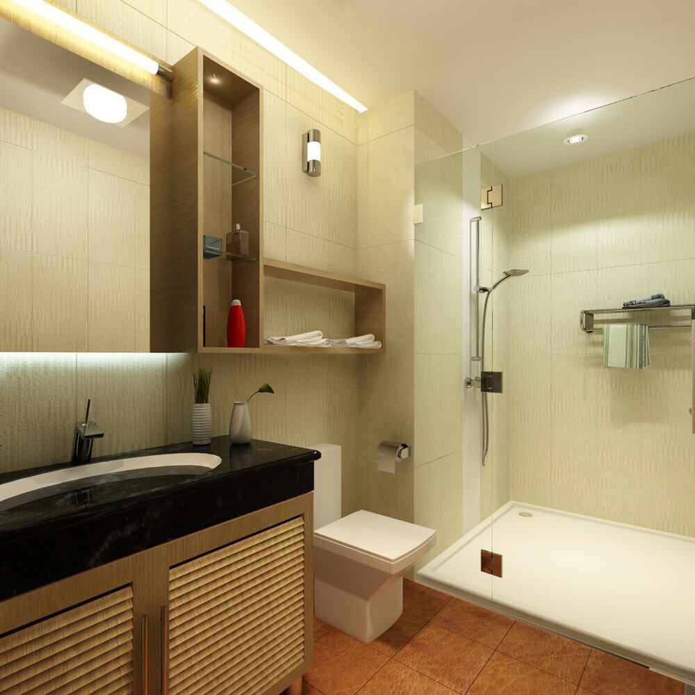 Sửa nhà phống với phòng tắm sử dụng tone màu sáng, ưa nhìn, nội thất hiện đại.