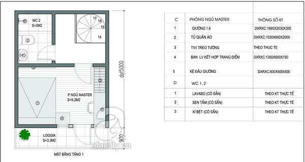 Mặt bằng tầng 1 trong mẫu thiết kế nhà 2 tầng.