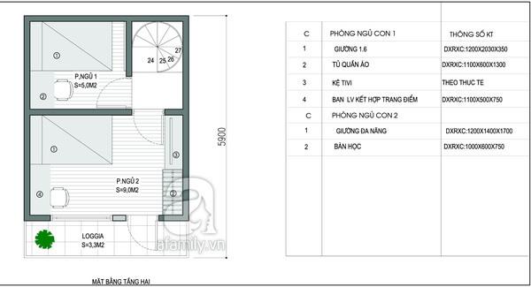 Mặt bằng tầng 2 trong mẫu thiết kế nhà 2 tầng.