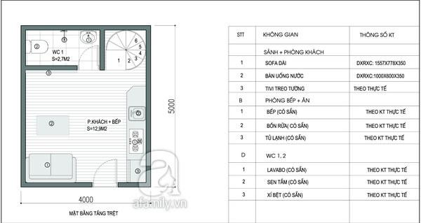 Mặt bằng tầng trệt trong mẫu thiết kế nhà 2 tầng.