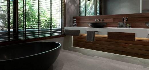 Thiết kế nhà tắm màu xám hiện đại với một chút màu trắng và gỗ ấm áp.