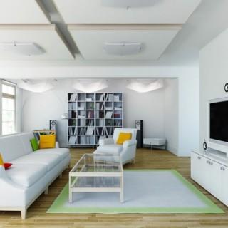 Thiết kế nội thất nhà 30m2, phòng khách tông màu trắng, tạo cảm giác rộng rãi hơn.