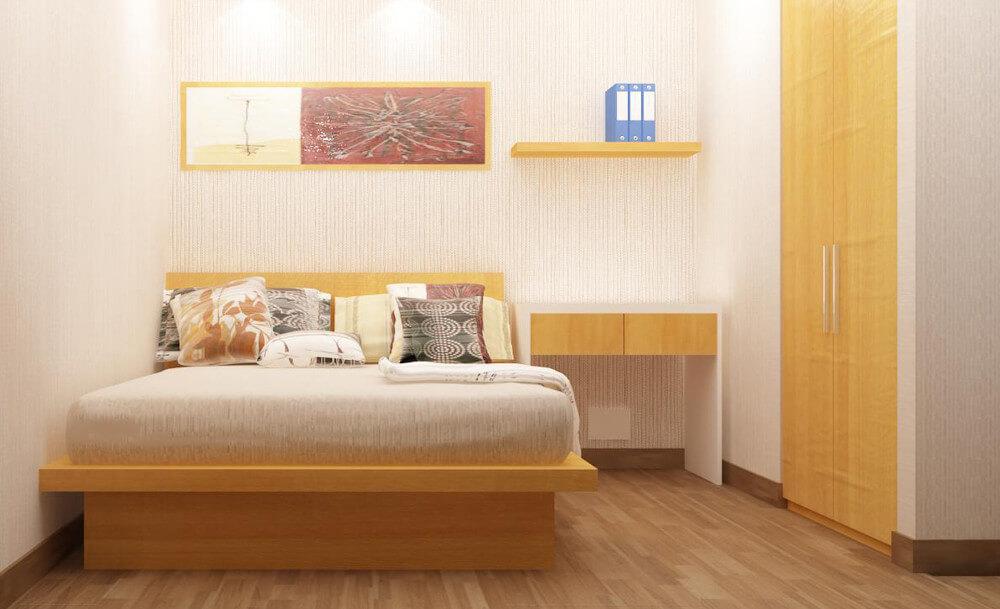Thiết kế nội thất nhà 30m2, với phòng ngủ của con, nội thất tối giản, rộng rãi.