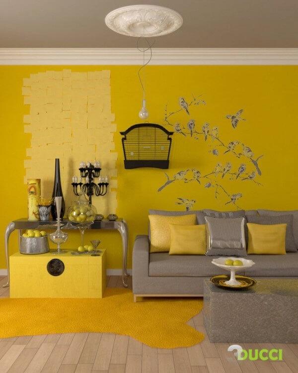 Điểm nhấn trong mẫu thiết kế nội thất nhà này là hình ảnh những chú chim đang bình thản đậu trên cành.