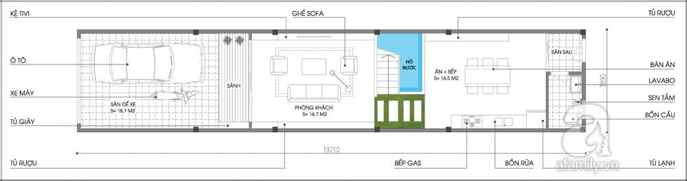 Mặt bằng tư vấn sửa nhà phố với tầng 1.