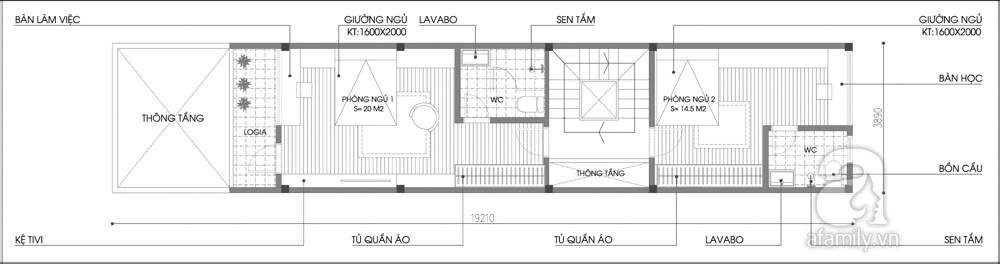 Mặt bằng tư vấn sửa nhà phố với tầng 2 và 3.