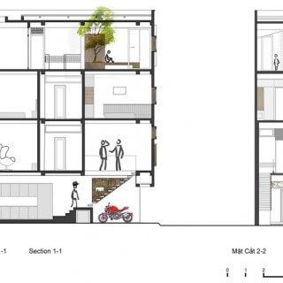 Mặt cắt trong mẫu thiết kế nhà 4 tầng.