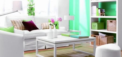 Màu sơn nhà ngọc lam kết hợp với nội thất trắng mang đến sự thư giãn, bình yên.