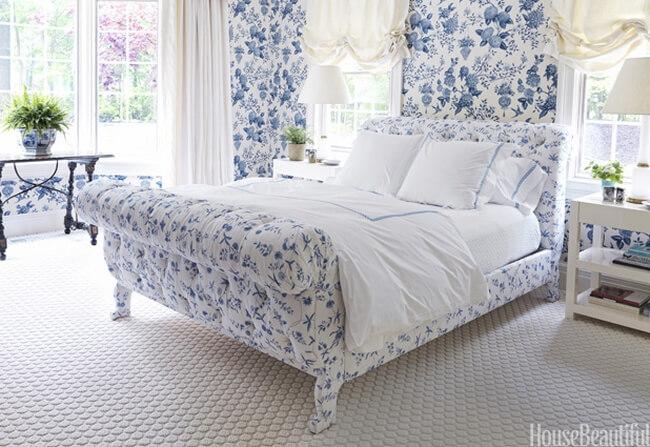 Nhà đẹp thiết kế nội thất phòng ngủ tông mầu xanh trắng đẹp