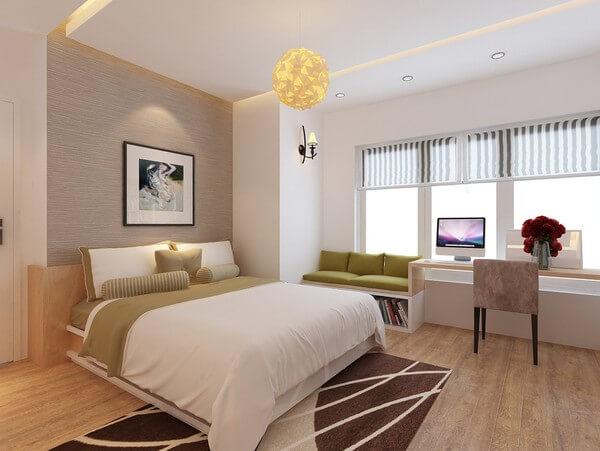 Sửa chữa cải tạo nhà, với phòng ngủ bố mẹ, tận dụng tối đa các diện tích thừa.