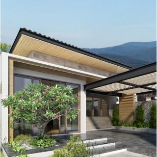 Thiết kế nhà 1 tầng, mặt tiền ngôi nhà đẹp mắt và được phủ kín bởi cây xanh, mát mẻ.