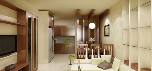 Không gian phòng khách và phòng ăn liên thông, tạo không gian rộng rãi hơn, phong cách hiện đại, trong mẫu thiết kế nhà 2 tầng chỉ 22m2 này.