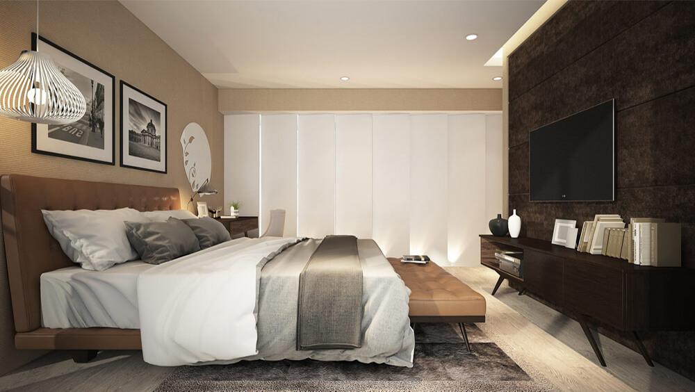Thiết kế nhà 2 tầng với phòng ngủ master tràn ngập ánh sáng, màu sắc giản dị, nhưng sang trọng.