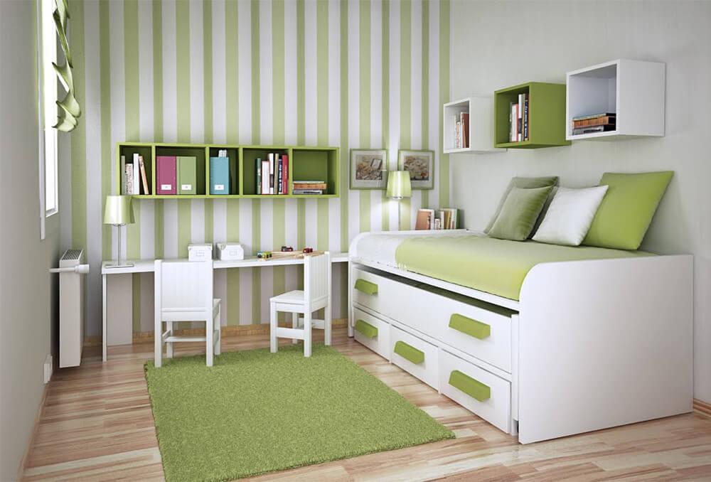 Phòng ngủ con với tone màu trẻ trung kết hợp nội hiện đại, trong thiết kế nhà 2 tầng này.