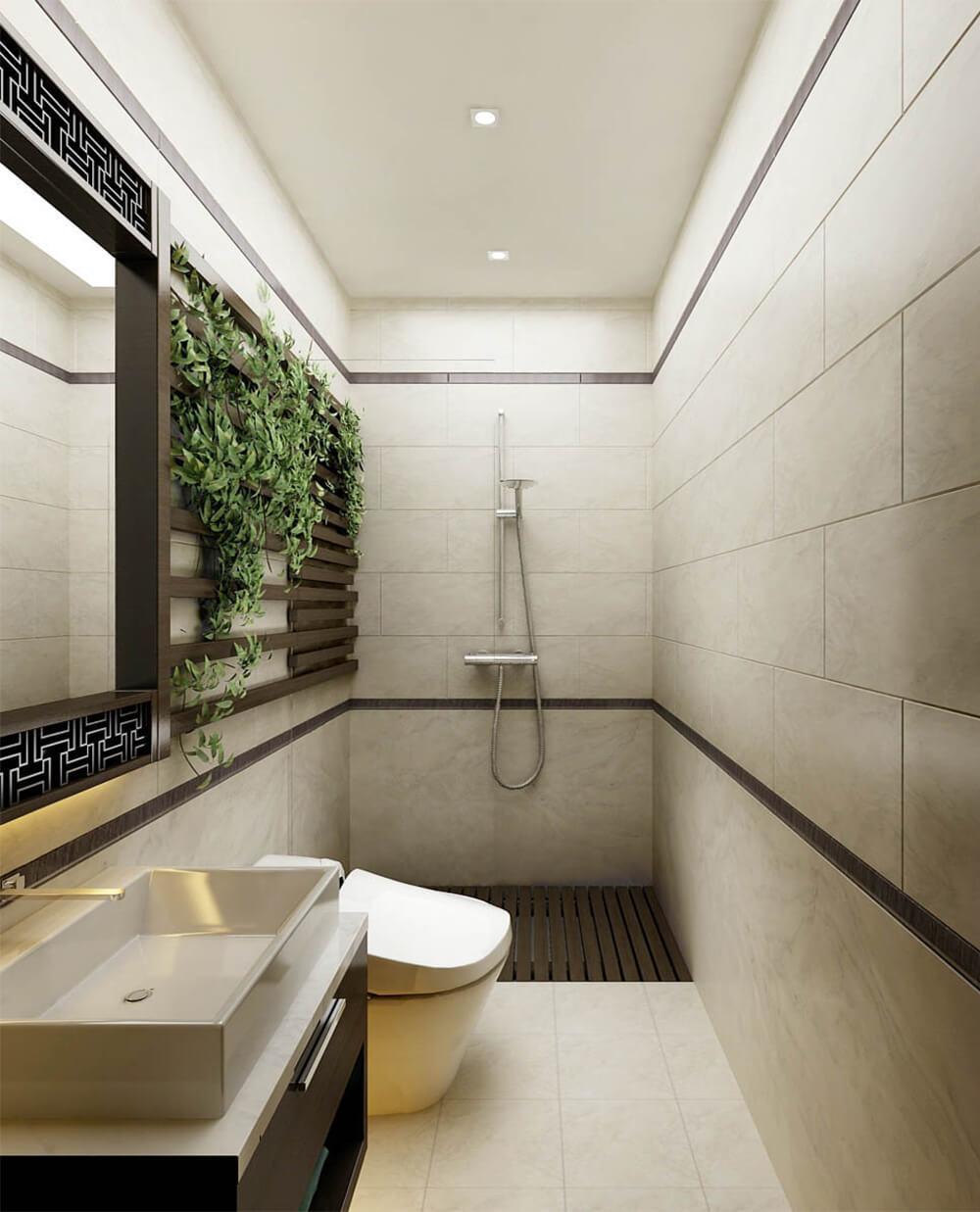 Phòng tắm trong mẫu thiết kế nhà 2 tầng, được thiết kế hiện đại, với tông màu trung tính.