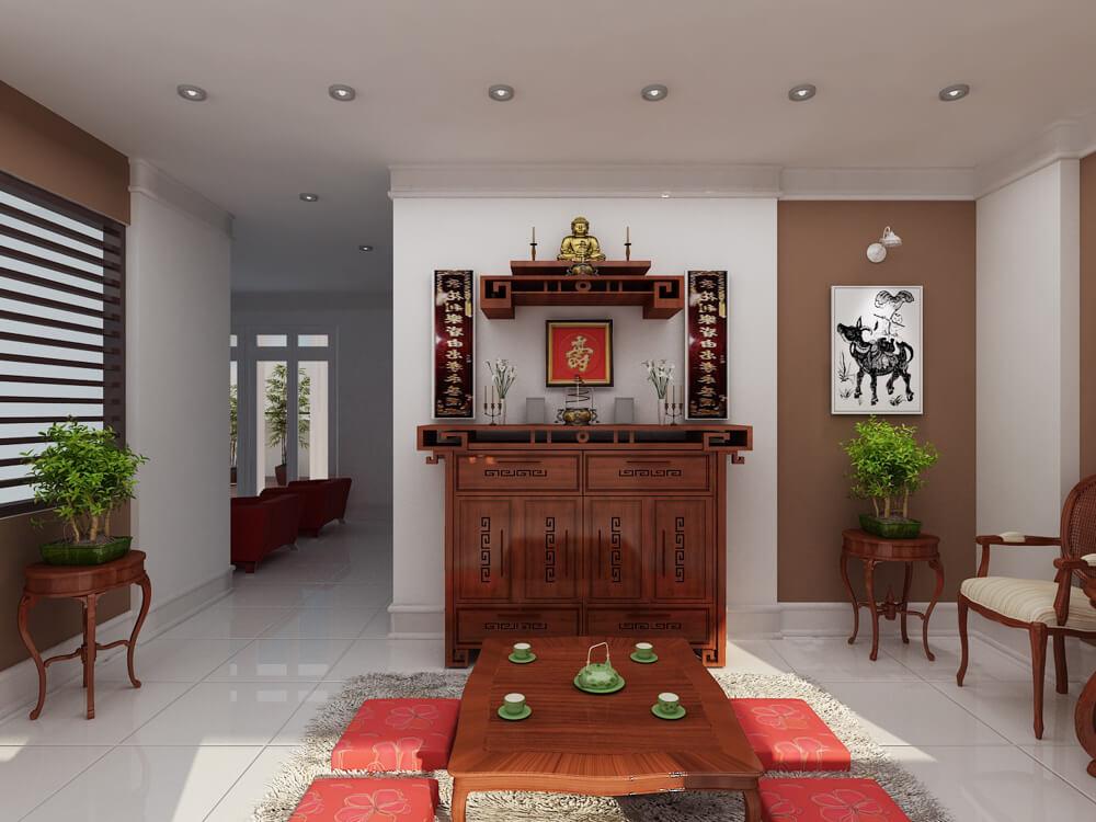 Phòng thờ trong mẫu thiết kế nhà 3 tầng, thanh tịnh, màu sắc trang nhã.