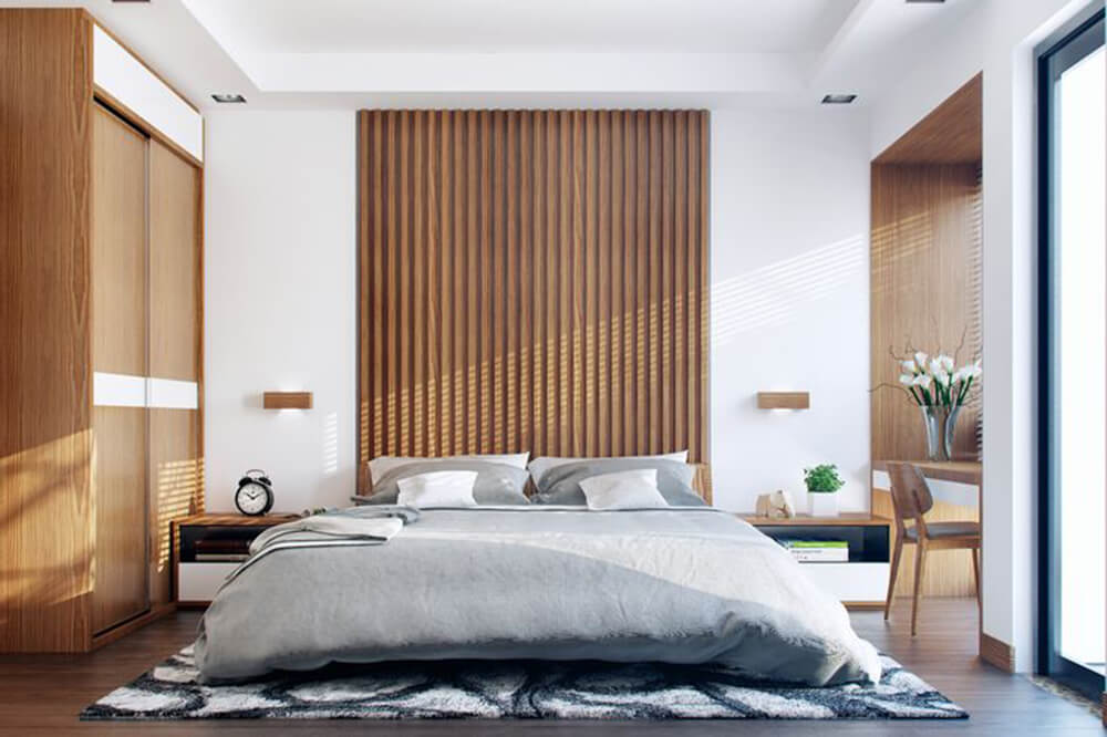 Thiết kế nhà ống 1 tầng, với phòng ngủ bố mẹ với gam màu trang nhã hiện đại.
