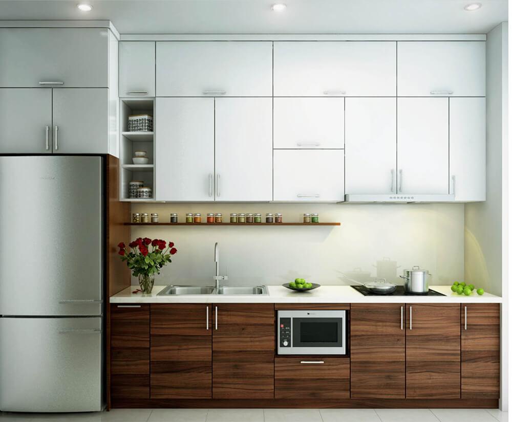 Thiết kế nội thất nhà chung cư với hệ tủ bếp chữ I hiện đại bên loggia.Decor mảng tường bên cạnh bàn ăn sẽ làm không gian thêm thú vị.