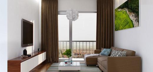 Phòng khách sang trọng với tone màu nhã nhặn, trong thiết kế nội thất nhà chung cư này.