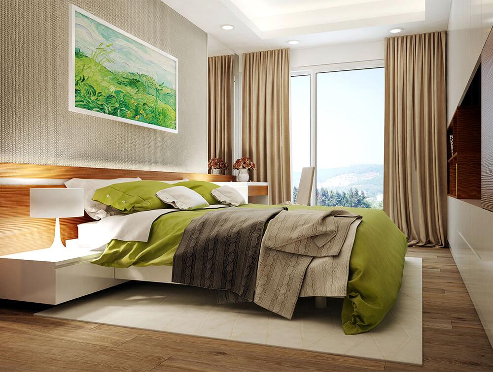 Phòng ngủ master hiện đại không kém khách sạn, trong mẫu thiết kế nội thất nhà chung cư này.