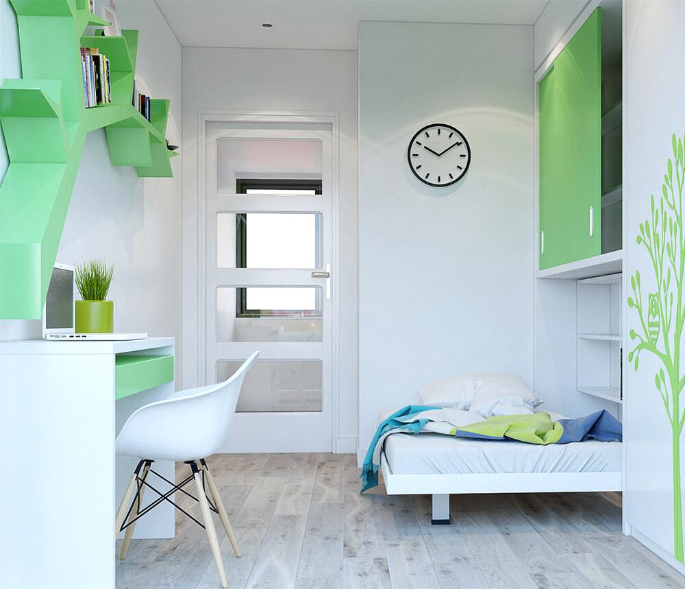 Phòng ngủ con với cách thiết kế nội thất nhà chung cư siêu tiết kiệm diện tích.