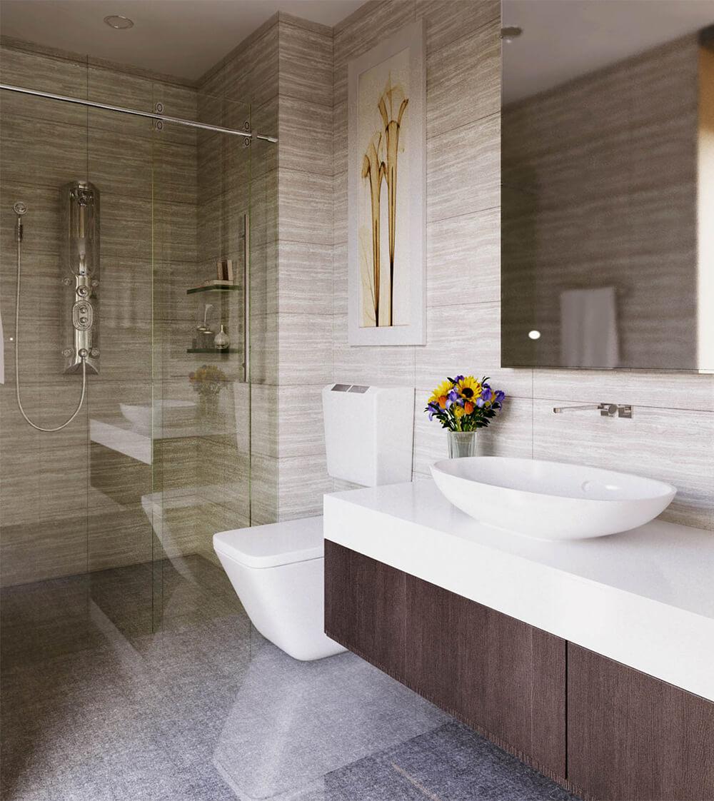 Nhà vệ sinh sáng bóng với không gian tinh tế, trong mẫu thiết kế nội thất nhà chung cư này.