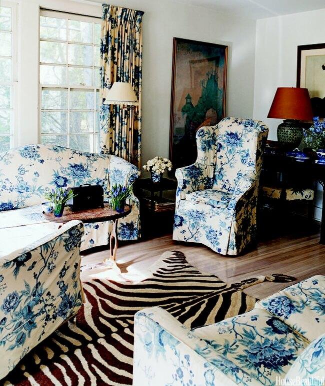 Thiết kế nội thất và màu sắc sơn nhà đẹp với sắc xanh-trắng cổ điển